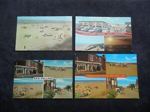 4 Postcards of Sea Palling, Norfolk, Village Sign, RNLI Seals Beach Road, Stores
