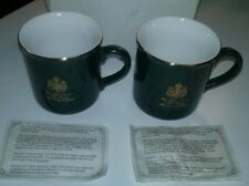 """Gevalia Kaffe Coffee Mugs w/Gold  - Two (2)""""King of Sweden"""" Vintage Collectables"""