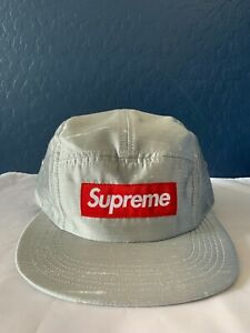 Supreme Raw Silk Camp Cap Silver Grey