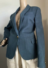 New $2895 Brunello Cucinelli Women Jacket Blazer Teal/Blue 46 It/10 US Italy