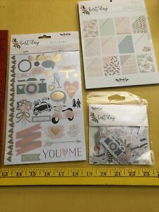 """My Minds Eye BEST DAY Lot STICKERS Die Cuts Paper Pad 8"""" X 8"""" Wedding MME NEW"""