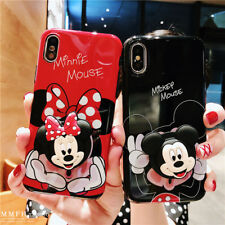 For iPhone 11 Pro XS Max X 7 8+ Cute cartoon Disney Stand Holder soft phone case