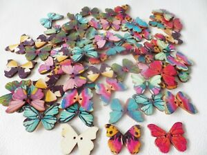 50pcs Wooden 28mm 2-hole Sew On Buttons: dress/card making BUTTERFLY Mixed cols
