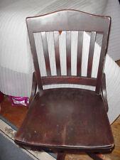 Office Chair Wood Slat Swivel Tilt Vintage Antique Industrial Machine Age