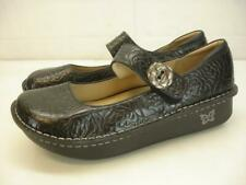 Women's 9.5 10 40W 40 W Wide Alegria Paloma Black Embossed Rose Mary Jane Shoes