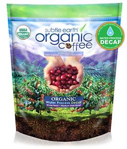 2LB Subtle Earth Organic Decaf - Swiss Water Process Decaf - Medium Dark Roast -