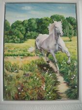 Wandbild Ölgemälde Gemälde mit Rahmen Original Pferd Hengst Natur Wiese Wald