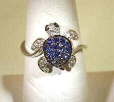 13MM 14K WHITE GOLD 0.31CTS BLUE SAPPHIRE 0.11CTS DIAMOND HAWAIIAN TURTLE RING 7