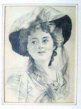 SMALL PORTRAIT D.G. LADY  WEARING IMPOSING HAT  PENCIL C1914