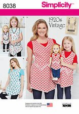 """Simplicity 8038 Retro 1920's Aprons for Misses, Child & 18"""" Doll Pattern"""