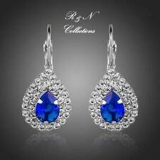 Platinum Plated Blue Water Drop Swiss Cubic Zirconia Earrings (E419-26)