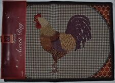 Tapestry Rustic Rooster Rug~Country Chicken Mat~Blue Check~Tan~Rust~New