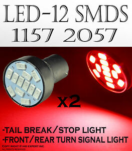 x2 pairs 1157 2357 2396 12 SMDs LED Color Red Fit Tail Brake Light Bulbs s W47