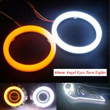 2x DC12V COB LED Angel Eyes Halo Ring Lamp Light w/ Turn Signal White Amber 60mm