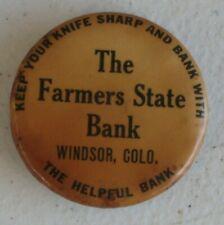 Advertising Farmers State Bank Windsor CO Knife Sharpener Hone Whetstone