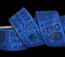10 Yards Police Cop Blue Protect & Serve Officer Badge Brave Wired Ribbon