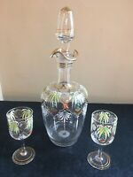 Vintage Blown Glass Embossed Hand Painted Clear Liquor Decanter with 2 Cordials