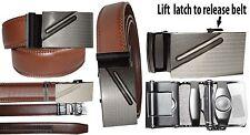 "Men's Leather Belt, Quick Lock belt. Genuine Leather Dress Casual Belt Up to 43"""