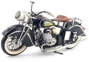 Vintage 1/6 Diecast Indian Harley Motorcycle Black Metal Model Toy Collectibles
