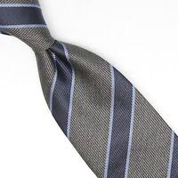 Josiah France Mens Silk Necktie Gray Navy Light Blue Repp Stripe Weave Tie Italy