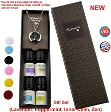 4 Essential Oil Tree Of Life Diffuser Necklace Relax Aroma Bulk Set aromatherapy