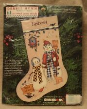 "1997 DIMENSIONS COUNTED CROSS STITCH SNOW FRIENDS STOCKING 16"" DEBBIE MUMM"