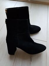 Faith Ladies Black Block Heel Soft Real Leather Ankle Boots 4/37 Used once!