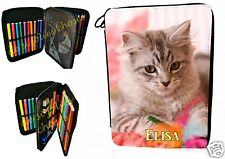 trousse à crayons école garnie petit chat personnalisable prénom choix réf 26