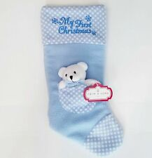NWT My First Christmas Baby Stocking Blue Color with Bear in pocket NEW