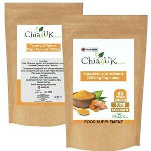 Turmeric and Black Pepper 2500mg High Strength Vegan Capsules / TABLET/pills/UK