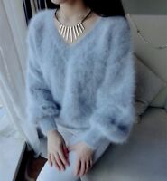 ❄️ GRAU 100 % ANGORA PULLOVER WOLLE PURE WOOL JUMPER SWEATER MINK CASHMERE