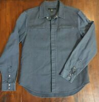 Men's ksubi Shirt L/S Blue with Denim Sleeves Snap Button Size L