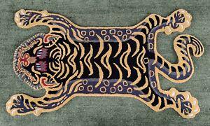 Tibetan Tiger Yellow & Black Rug 2x3 feet Creative Pattern Carpet 100% Woollen