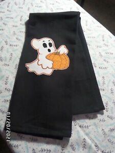 "OOAK Halloween Ghost w/Pumpkin Kitchen Tea Towel 18"" x 28"" - Black -100% Cotton"