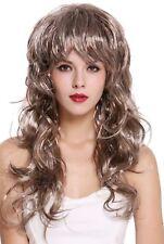 Wig Ladies CARNIVAL WAVY Long Wild Voluminous 80er Vamp Diva Brown Grey Mix
