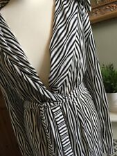 ZARA Black & White Zebra Print Wrap Dress Cover Up Open Back Large BNWT