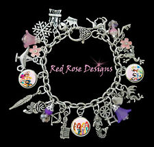 ~ DISNEY PRINCESS THEMED CHARM BRACELET, BELLE, CINDERELLA, SNOW WHITE, ARIEL~