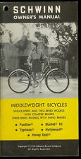 1970 Schwinn Middleweight Panther Typhoon Bike Bicycle Factory Owner's Manual
