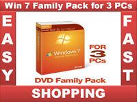 Sealed Brand New Windows 7 Home Premium Upgrade Family Pack 3 PCs 32/64 bit