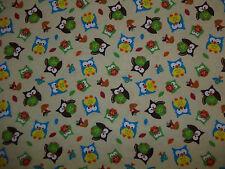 Handmade fitted cribsheet/.pillowcase/ flannel/Owls/Ecru/Neutral