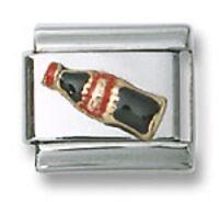 18K Italian Charm Coke Cola Enamel 9 mm Stainless Steel Modular Link Bracelet