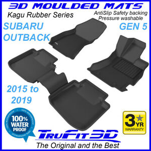 Fits Subaru Outback 2015 - 2020 Genuine 3D Kagu Black Rubber Floor Mats