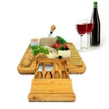 NutriChef PKCZBD10 Bamboo Cheese Board & Cutlery Set with Drawer, Brown