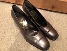 Women's Salvatore Ferragamo Metallic Silver Pewter Formal Heels Pumps Shoes 7B