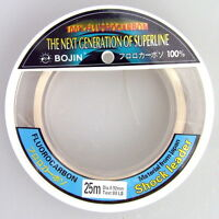 Bojin Fishing Line 100% Fluorocarbon Leader 80lb 25m Tough Monofilament Trace