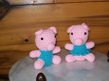 set of 2 adorable crochet stuffed baby Piglets toy animal 5 1/2 in tall handmade