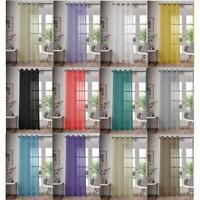 Single Panel Eyelet Top Voile Curtain Pole Rod Pocket Plain Colours Door Window