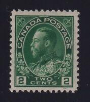 Canada Sc #107a (1924) 2c deep green Admiral on Thin Paper Mint VF NH MNH