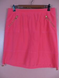 SK12516-NEW ZENERGY Womens Polyester Casual Pencil Skirt Zip Pockets Peach 1 S M
