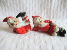 2 Vtg 50's 60's Christmas Pixie Gnome Elf Figurines * Santa w Long Beard * Japan